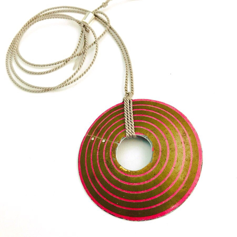 Concentric Pink Circles Upcycled Tin Necklace