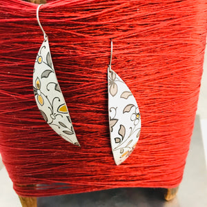 Gunmetal Gray Leaves on White Upcycled Tin Earrings