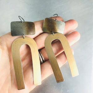 Fire Polished & Copper Etched Horseshoe Zero Waste Tin Earrings
