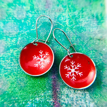 Load image into Gallery viewer, Tiny Snowflakes on Red Tiny Dot Tin Earrings