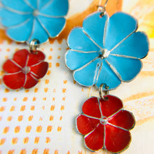 Load image into Gallery viewer, Sky & Scarlet Double Flower Ethical Tin Earrings