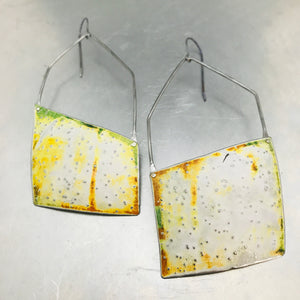 Pointillist Hand Distressed Upcycled Tin Earrings