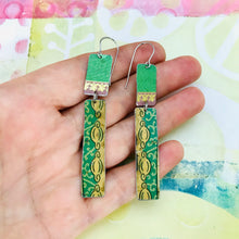 Load image into Gallery viewer, Vintage Greens & Gold Recycled Tin Earrings