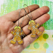 Load image into Gallery viewer, Gingerbread Men Upcycled Tin Earrings