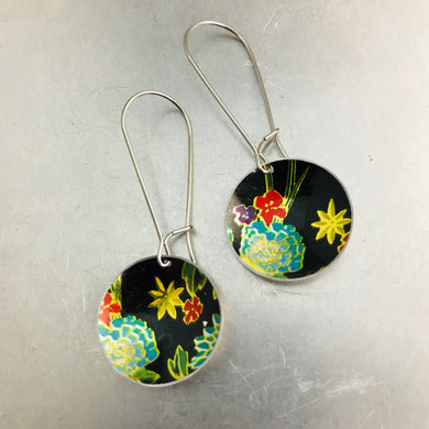 Aqua Flowers on Midnight Medium Basin Earrings