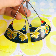 Load image into Gallery viewer, Golden Blossoms on Speckled Black Recycled Tin Earrings