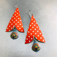 Load image into Gallery viewer, Polka Dotted Arrows & Aqua Drops Vintage Tin Arrowhead Earrings