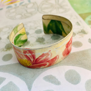 Pink Blossoms Upcycled Tin Cuff