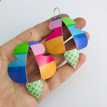 Load image into Gallery viewer, Bright Striped Abstract Butterflies Upcycled Tin Earrings