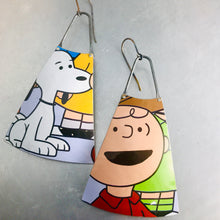 Load image into Gallery viewer, charlie brown and snoopy upcycled tin earrings by christine terrell for adaptive reuse