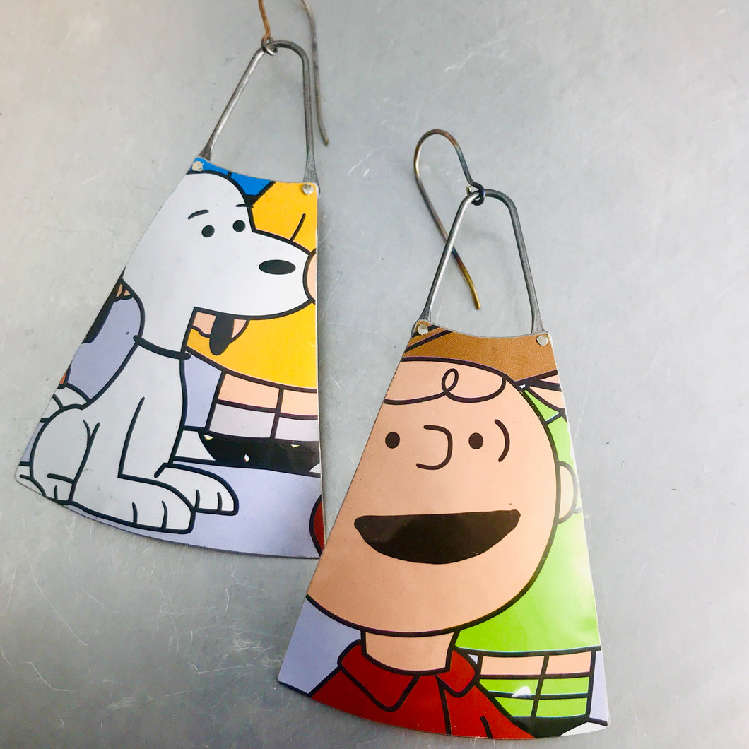 charlie brown and snoopy upcycled tin earrings by christine terrell for adaptive reuse