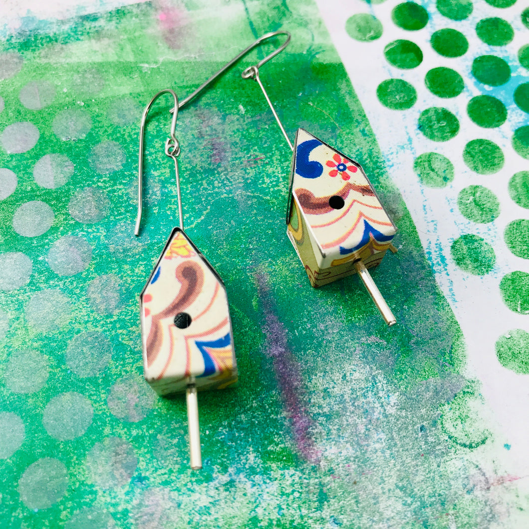 Nyaker Tiny Tin Birdhouse Earrings