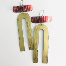 Load image into Gallery viewer, Antique Gold Horseshoe & Red Rectangles Zero Waste Tin Earrings