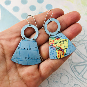 Pacific and South America Small Fans Zero Waste Tin Earrings