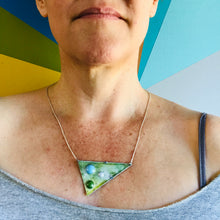 "Load image into Gallery viewer, Three Tin ""Stones"" Set in Scuffed Green Triangle Tin Recycled Necklace"
