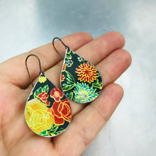 Load image into Gallery viewer, Bright Flowers on Black Upcycled Tin Teardrop Earrings
