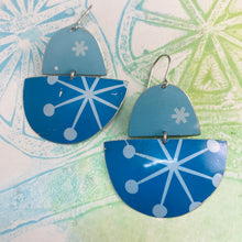 Load image into Gallery viewer, Mod Asterisks on Blue Boats Upcycled Tin Earrings