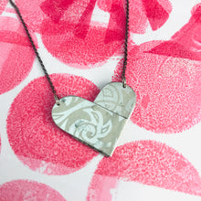Load image into Gallery viewer, White on Silver Tin Heart Recycled Necklace