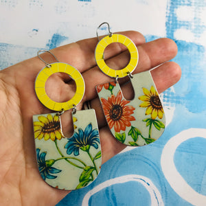 Gerber Daisies Chunky Horseshoes Zero Waste Tin Earrings