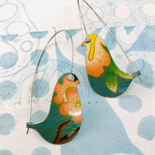 Load image into Gallery viewer, Pink Blossoms on Blue Birds on a Wire Upcycled Tin Earrings