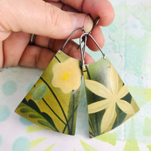 Load image into Gallery viewer, Big Happy Flowers Upcycled Tin Long Fans Earrings