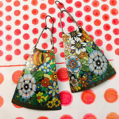 Allover Flowers Upcycled Vintage Tin Earrings