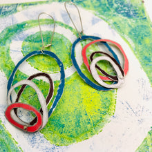 Load image into Gallery viewer, Cerulean, Chocolate, Snow, & Pink Scribbles Upcycled Tin Earrings