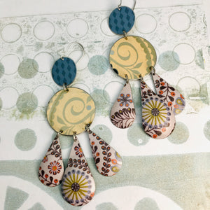 Mixed Pale Patterns Zero Waste Tin Chandelier Earrings