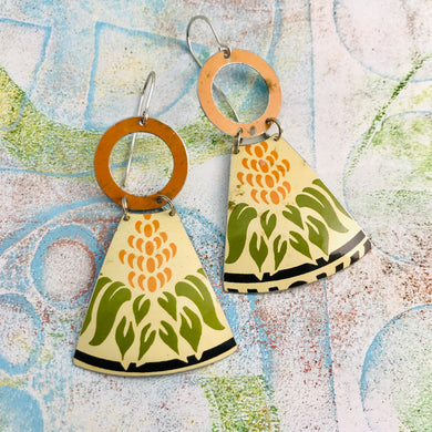 Vintage Sugar Tin Small Fans Tin Earrings