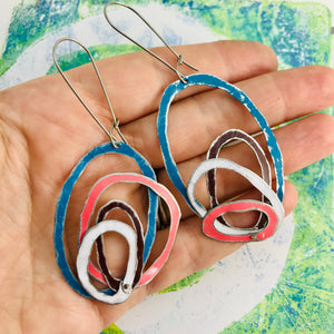 Cerulean, Chocolate, Snow, & Pink Scribbles Upcycled Tin Earrings