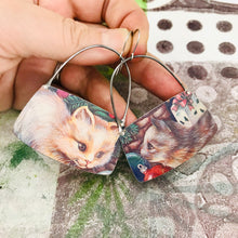 Load image into Gallery viewer, Fluffy Kitties Rounded Rectangles Zero Waste Tin Earrings