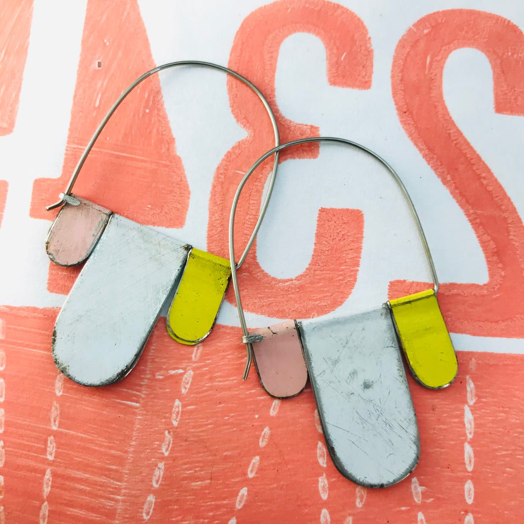 White, Butter, Primrose Arched Upcycled Tin Dangle Earrings
