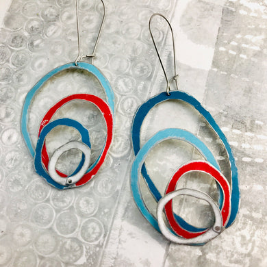 Scarlet, Snow & Blue Scribbles Again Upcycled Tin Earrings