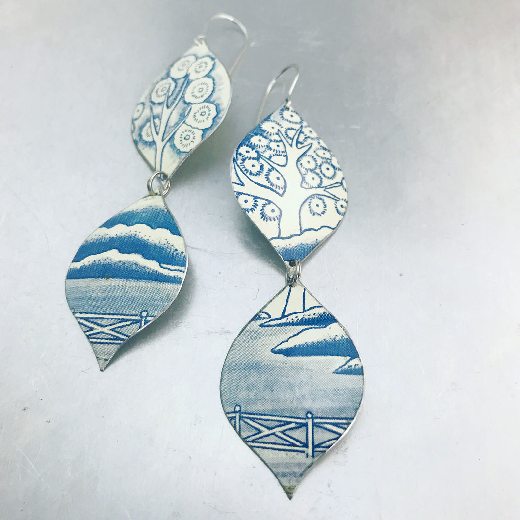 Mod Delft Blue Chinoiserie Zero Waste Tin Earrings