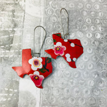 Load image into Gallery viewer, Cherry Blossoms on Scarlet Texas Upcycled Tin Earrings