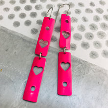 Load image into Gallery viewer, Hot Pink Hearts Narrow Rectangle Tin Earrings
