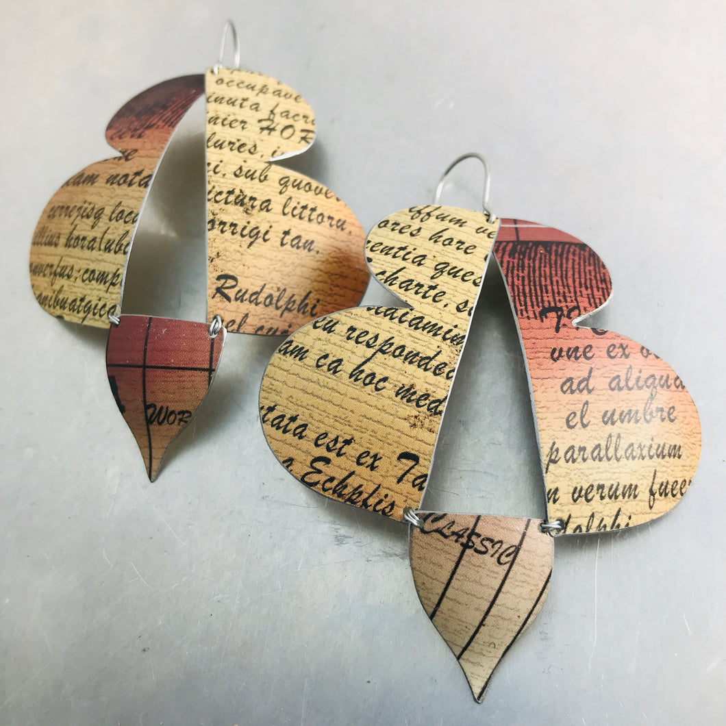 Abstract Butterflies Typography Zero Waste Tin Earrings