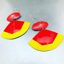 Load image into Gallery viewer, Bright Saffron & Scarlet Upcycled Tin Fan Earrings by Christine Terrell for adaptive reuse jewelry