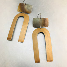 Load image into Gallery viewer, Fire Polished & Copper Etched Horseshoe Zero Waste Tin Earrings
