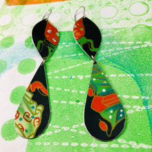 Load image into Gallery viewer, Bright Green & Scarlet on Midnight Blue Long Teardrops Tin Earrings