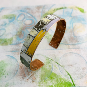 Mixed Neutral Trapezoids Upcycled Tesserae Tin Cuff