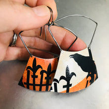 Load image into Gallery viewer, Spooky Halloween Raven on a Fence Zero Waste Tin Earrings