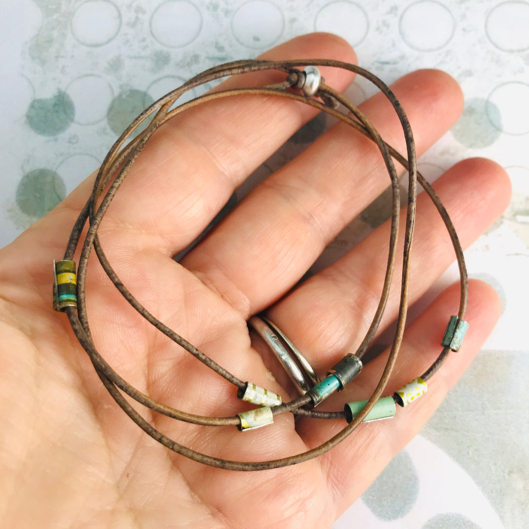 Earthy Brown Tiny Tin Beaded Leather Cord Necklace or Bracelet