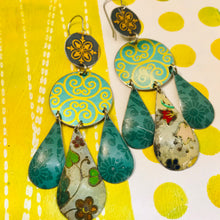Load image into Gallery viewer, Mixed Greens and Gold Filigree Upcycled Tin Chandelier Earrings