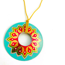 Load image into Gallery viewer, Vintage Aqua Circle Upcycled Tin Necklace