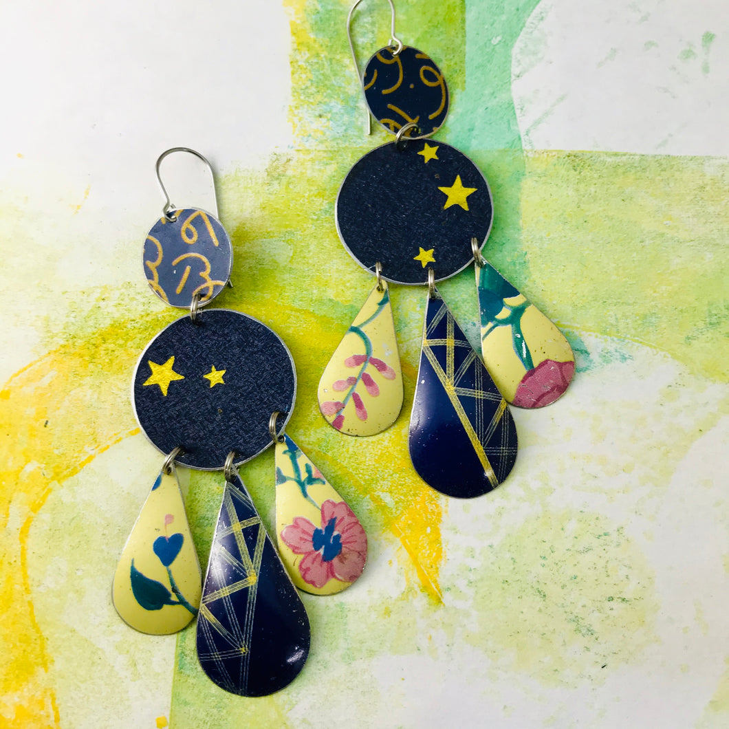 Golden Stars on Midnight Blue Tin Chandelier Earrings