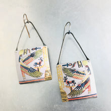 Load image into Gallery viewer, Egyptian Goddess Isis Square Tin Zero Waste Earrings by adaptive reuse  jewelry