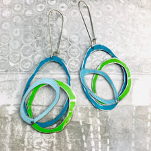 Load image into Gallery viewer, Lake, Grass & Sky Scribbles Upcycled Tin Earrings