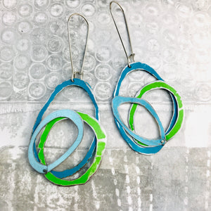 Lake, Grass & Sky Scribbles Upcycled Tin Earrings