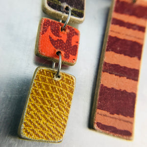 Mixed Pattern Rectangles Recycled Book Cover Earrings